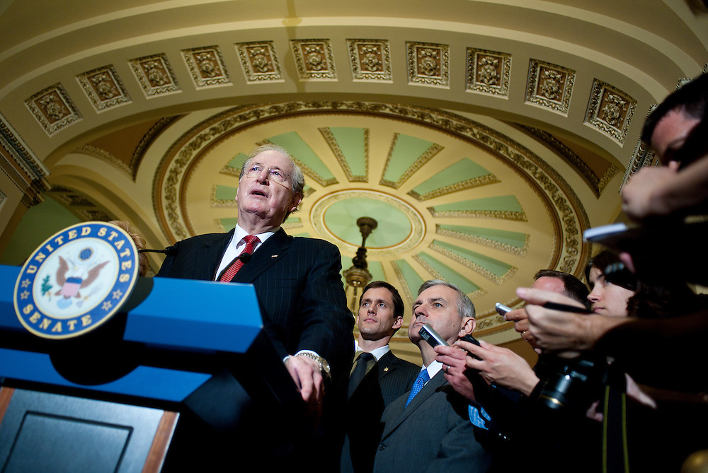 Jul 20, 2010 - Washington, District of Columbia, U.S., - Senator JAY ROCKEFELLER (D-WV) speaks to the press following the Senate voting to clear the way for passage of a $34 billion unemployment benefits package by a 60-40 vote. The bill had been stalled due to a Republican filibuster.(Credit Image: © Pete Marovich/ZUMA Press)