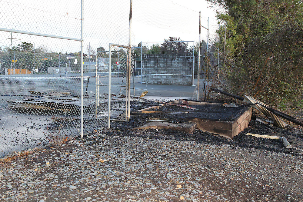 Mapua Tennis Pavilion, one of several suspicious fire in Mapua over night is destroyed, Nelson, New Zealand, Thursday, September 15, 2011, New Zealand. Credit:SNPA / Blair Hall