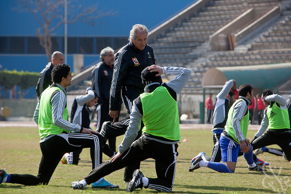 Manuel Jose, (c) the Portuguese Coach of the Egyptian football team Al-Ahly leads a training session with his squad Feb 20, 2012 at the Ahly club stadium in Cairo, Egypt. Jose returned to Egypt Feb 16 to resume his job of coach of Al-Ahly in the wake of post-football match violence February 2nd, 2012 that killed 74 and injured hundreds more in the Port Said, Egypt stadium.  (Photo by Scott Nelson)