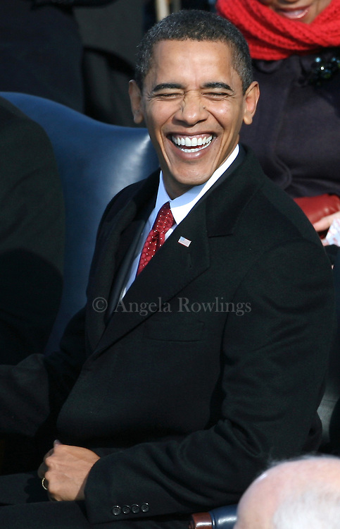 Pres. Barack Obama smiles during his inauguration, Tuesday,  January 20, 2009.