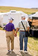 Senior Citizen, couple, tourist, Rocky Boy Pow Wow, Rocky Boy Reservation, Montana, holding hands