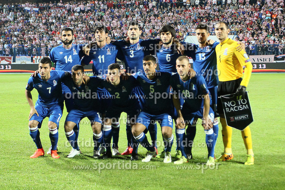 13.10.2014, Stadion Gradski vrt, Osijek, CRO, UEFA Euro Qualifikation, Kroatien vs Aserbaidschan, Gruppe H, im Bild Teamphoto Azerbaijan // during the UEFA EURO 2016 Qualifier group H match between Croatia and Azerbaijan at the Stadion Gradski vrt in Osijek, Croatia on 2014/10/13. EXPA Pictures &copy; 2014, PhotoCredit: EXPA/ Pixsell/ Marko Mrkonjic<br /> <br /> *****ATTENTION - for AUT, SLO, SUI, SWE, ITA, FRA only*****