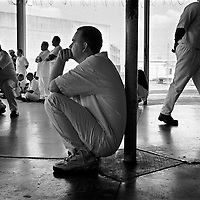 ..Texas trails only California in inmate population. The numbers of inmates has been doubling in each decade as more and more criminals, particularly drug offenders, are subjected to tougher sentencing. In the Boyd Prison near Palestine, Texas, inmates gather to listen to Christians talk about eternal salvation.