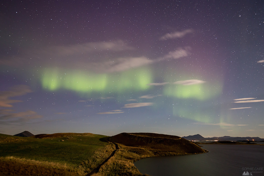 Faint Northern Lights over the pseudo-craters at the southern end of Lake Myvatn, northern Iceland