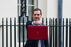 London, March 18th 2015. Chancellor George Osbourne leaves number 11 Downing Street to present his Budget  to Parliament.