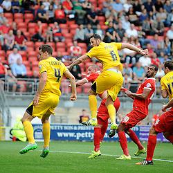 Tom Parkes of Bristol Rovers heads for goal - Mandatory byline: Neil Brookman/JMP - 07966386802 - 29/08/2015 - FOOTBALL - Matchroom Stadium -Leyton,England - Leyton Orient v Bristol Rovers - Sky Bet League Two