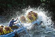 Alaska. Denali NP. Nenana River. Crashing through a whitewater rapid known as Iceworm.