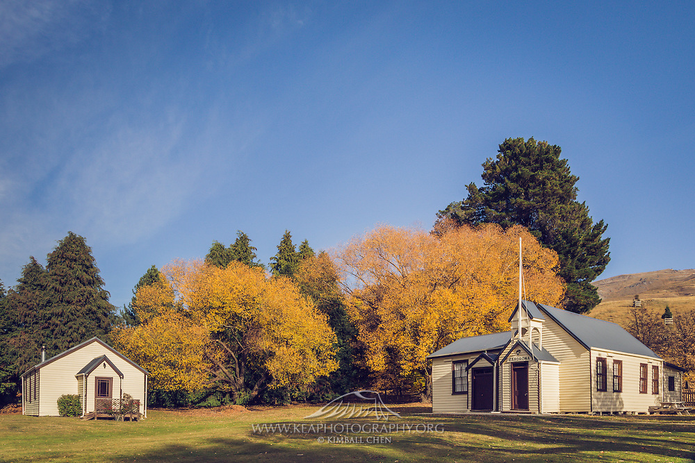 The historic Cardrona chapel in autumn, Central Otago, New Zealand