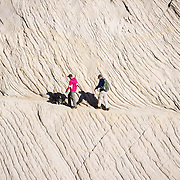 Hikers walk a dog along a rock face near Northgate Peaks trail, Zion National Park, Springdale, Utah, USA. The North Fork of the Virgin River carved spectacular Zion Canyon through reddish and tan-colored Navajo Sandstone up to half a mile (800 m) deep and 15 miles (24 km) long. Uplift associated with the creation of the Colorado Plateaus lifted the region 10,000 feet (3000 m) starting 13 million years ago. Zion and Kolob canyon geology includes 9 formations covering 150 million years of mostly Mesozoic-aged sedimentation, from warm, shallow seas, streams, lakes, vast deserts, and dry near-shore environments. Mormons discovered the canyon in 1858 and settled in the early 1860s. U.S. President Taft declared it Mukuntuweap National Monument in 1909. In 1918, the name changed to Zion (an ancient Hebrew name for Jerusalem), which became a National Park in 1919. The Kolob section (a 1937 National Monument) was added to Zion National Park in 1956. Unusually diverse plants and animals congregate here where the Colorado Plateau, Great Basin, and Mojave Desert meet.