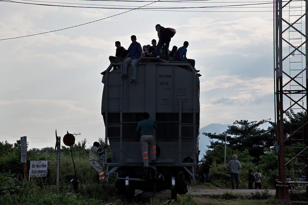 """The Beast"" how the migrants call every train coming at Ixtepec railway station. Oxaca-Mexico,2011"
