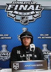May 29; Newark, NJ, USA; Los Angeles Kings goalie Jonathan Quick (32) during Stanley Cup Finals media practice day at the Prudential Center.