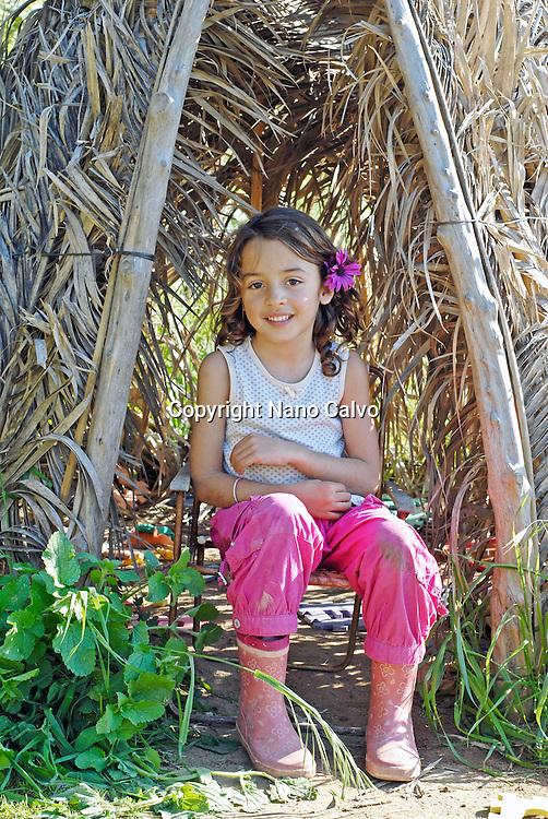 Cute brazilian six year old girl in nature