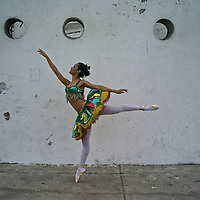 Model relased photo of Gina, a Colombian professional ballet dancer in Cartagena.