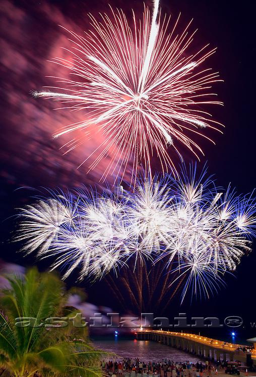 BANG as fireworks. Newport Fishing Pier Grand Opening. FL.