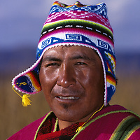 Bolivian man in Lake Titicaca.