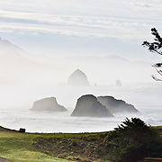 The pounding Pacific Ocean has eroded bluffs to create Haystack Rock, a 235-foot (72-meter) tall monolith and many other sea stacks, on Cannon Beach, on the Oregon coast, at Ecola State Park. Haystack Rock is part of the Tolovana Beach State Recreation Site and is managed by Oregon Parks and Recreation below the mean high water (MHW) level, and above the MHW level by the Oregon Islands National Wildlife Refuge of the United States Fish and Wildlife Service. Panorama stitched from 2 overlapping images.