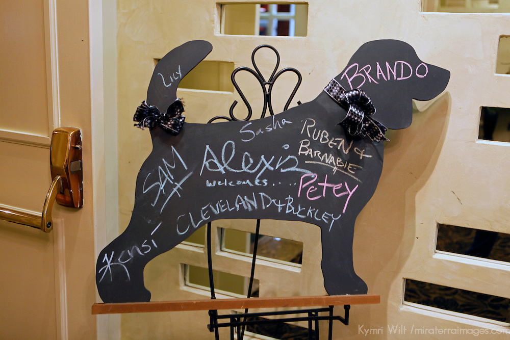 USA, Washington, Seattle. Welcome board for dog-friendly Alexis Hotel in Seattle.