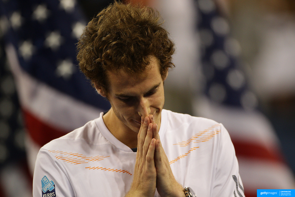 Andy Murray, Great Britain, at the presentation ceremony after defeating Novak Djokovic, Serbia, in the Men's Singles Final during the US Open Tennis Tournament, Flushing, New York. USA. 10th September 2012. Photo Tim Clayton