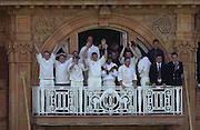 Photo Peter Spurrier.01/09/2002.Village Cricket Final - Lords.Elvaston C.C. vs Shipton-Under-Wychwood C.C..Shipton celebrate the winning runs be scored as the clinch victory in the 2002 Village Cup Final at Lords.