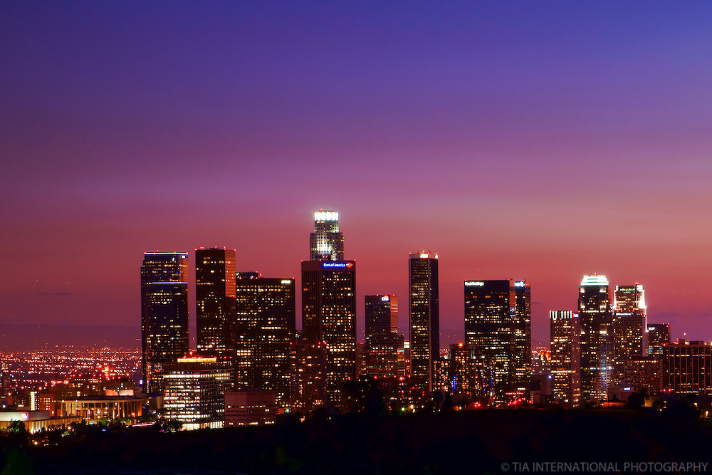 Skyline from Elysian Park at Sunset