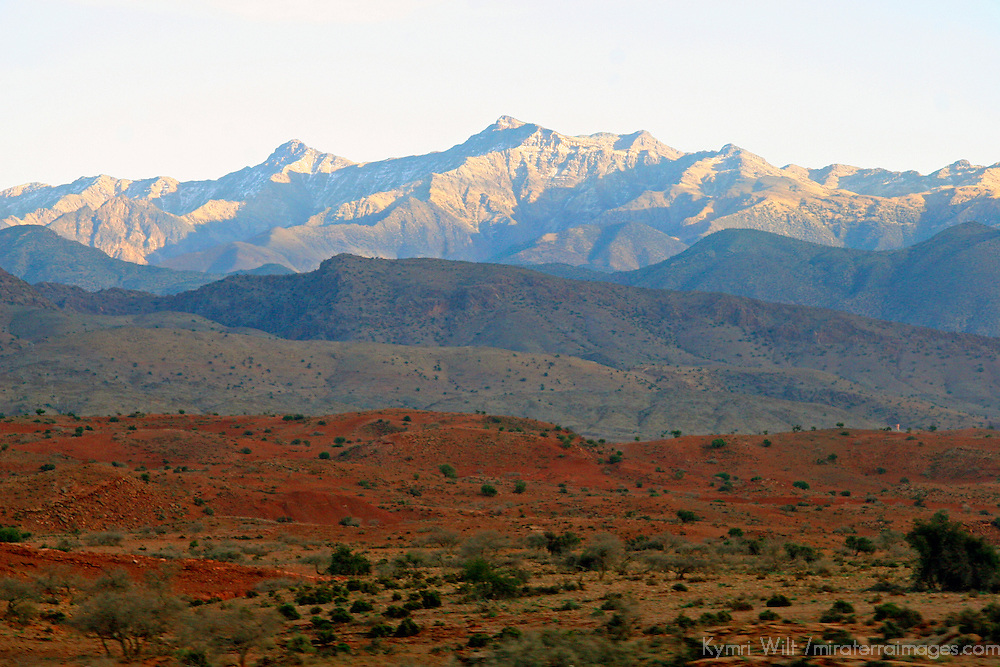 North Africa; Africa; Morocco. The majestic Atlas Mountains form a scenic backdrop to the Moroccan landscape.