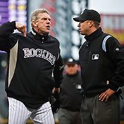 SHOT 5/12/10 4:09:47 PM - Colorado Rockies manager Jim Tracy argues with first base umpire Cory Blaser after Blaser called Eric Young Jr. out at first base during a game against the Philadelphia Phillies at Coors Field in Denver, Co. Tracy was ejected by Blaser.   The Rockies won the game 4-3 on a walk off home run in the 10th inning. (Photo by Marc Piscotty / © 2010)