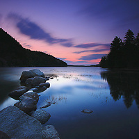 Maine photography images of a sunset at Echo Lake in Acadia National Park are available as museum quality photography prints, canvas prints, acrylic prints or metal prints. Prints may be framed and matted to the individual liking and room decor needs:<br />