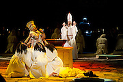 22.02.2012. London, UK. A brand new production of Giuseppe Verdi's awe-inspiring masterpiece, Aida, directed by Stephen Medcalf. The drama unfolds in the very heart of the Royal Albert Hall, drawing the audience in from all sides. With a combined cast of over 120 soloists, chorus, actors and dancers. Picture shows Radames by Marc Heller. Photo credit : Tony Nandi/