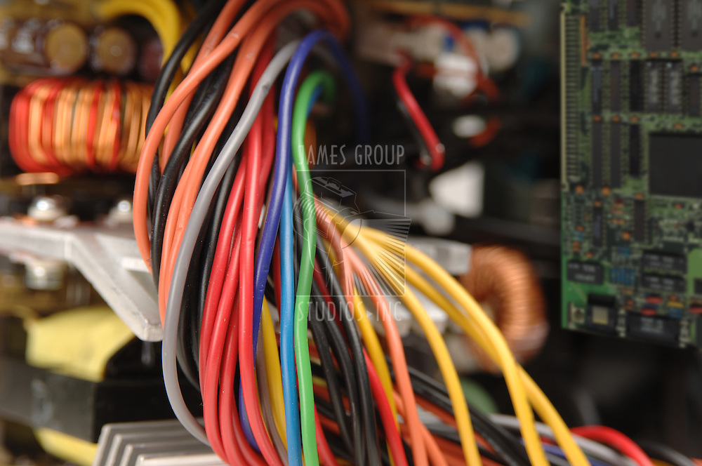 electrical wiring shot from the inside of a power supply