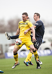 Queen of the South's Bob McHugh and Falkirk's David McCracken.<br /> Half time : Falkirk 0 v 0 Queen of the South, Scottish Championship game today at the Falkirk Stadium.<br /> &copy; Michael Schofield.