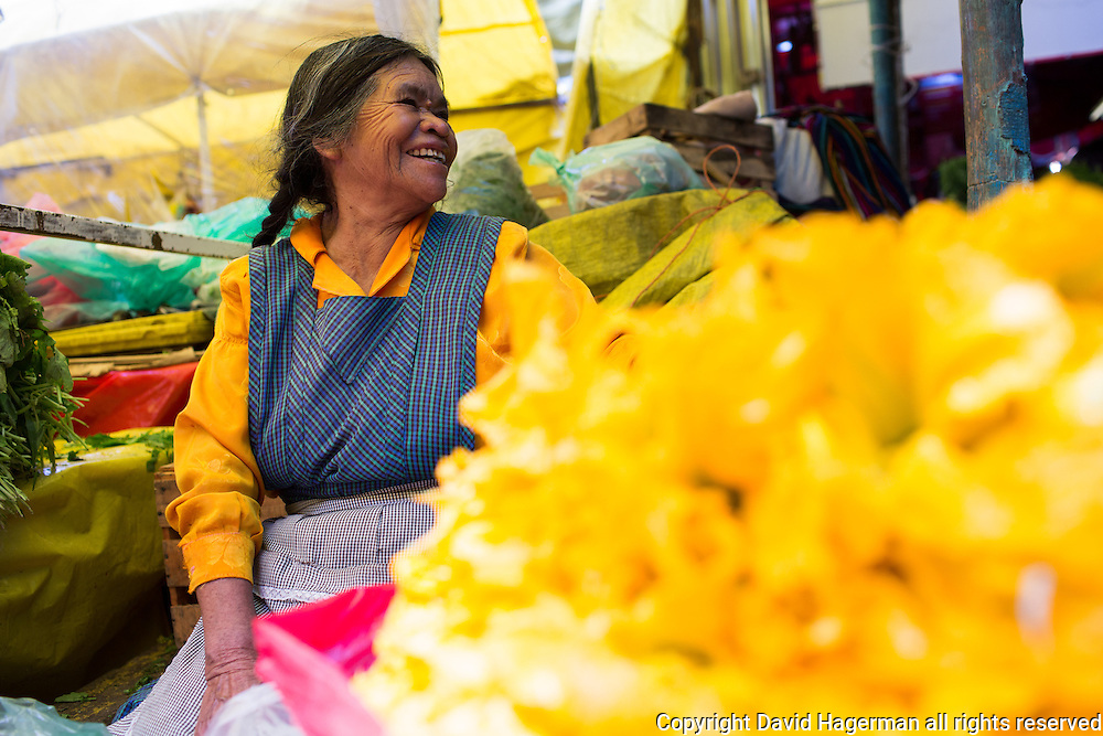 This Merced Market vendor sells squash blossums for use in quesadillas.
