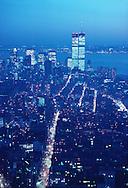 Manhattan Skyline Dusk, Hudson River Twin Towers of the World Trade Center, designed by Minoru Yamasaki, Manhattan, New York City, New York, USA