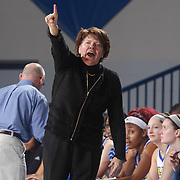 Delaware Women's Head coach TINA MARTIN calls a play from the sidelines in the first half of a Colonial Athletic Association regular season basketball game between Delaware and College of Charleston Sunday, Jan. 22, 2017 at The Bob Carpenter Sports Convocation Center in Newark, DEL