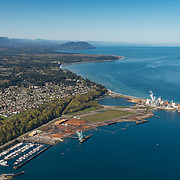 Aerial view (looking west) of part of the harbor of Port Angeles, including the Nippon paper mill at right.
