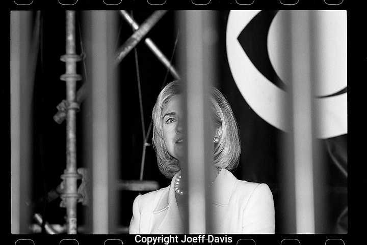 First Lady Hillary Clinton behind bars at the 1996 Democratic National Convention at the United Center in Chicago, Illinois.