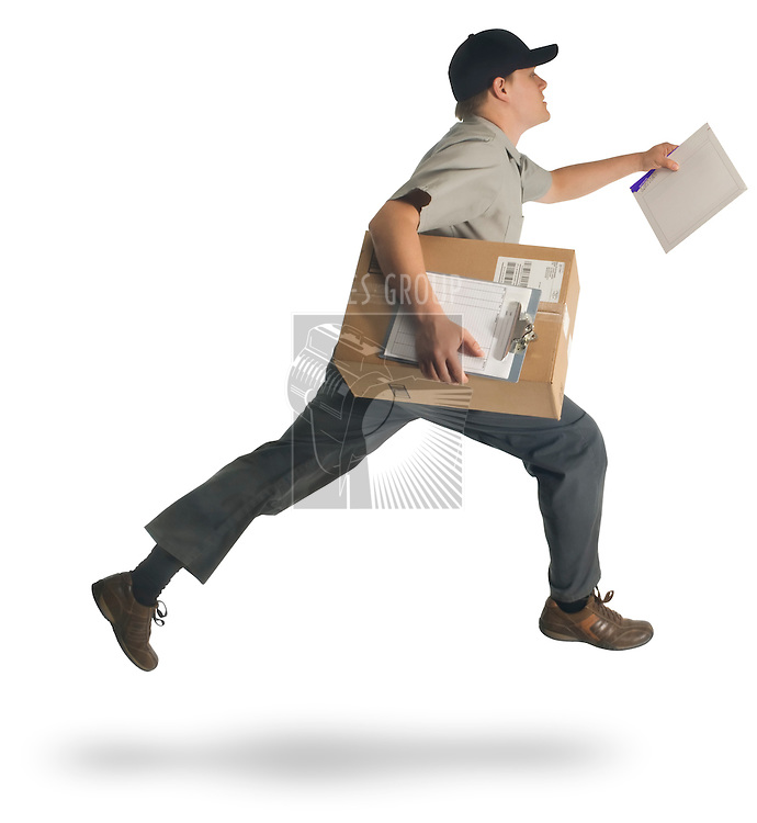 Delivery man running with a parcel and a letter on a white background with clipping path