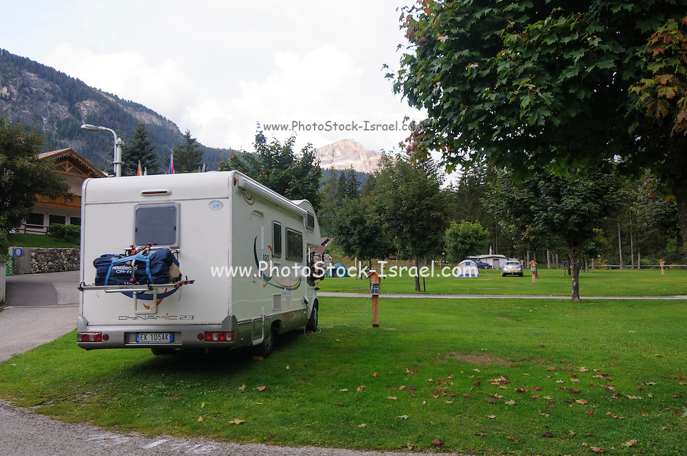 motor home vacation Dolomites, Italy camper parked in a camping ground