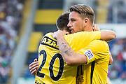BREDA - NAC - Jong Ajax , Voetbal , Seizoen 2015/2016 , Jupiler league , Rat Verlegh Stadion , 21-08-2015 , NAC Breda speler Mats Seuntjens (l) scoort de 1-0 en viert dit met NAC Breda speler Kevin Brands (r)