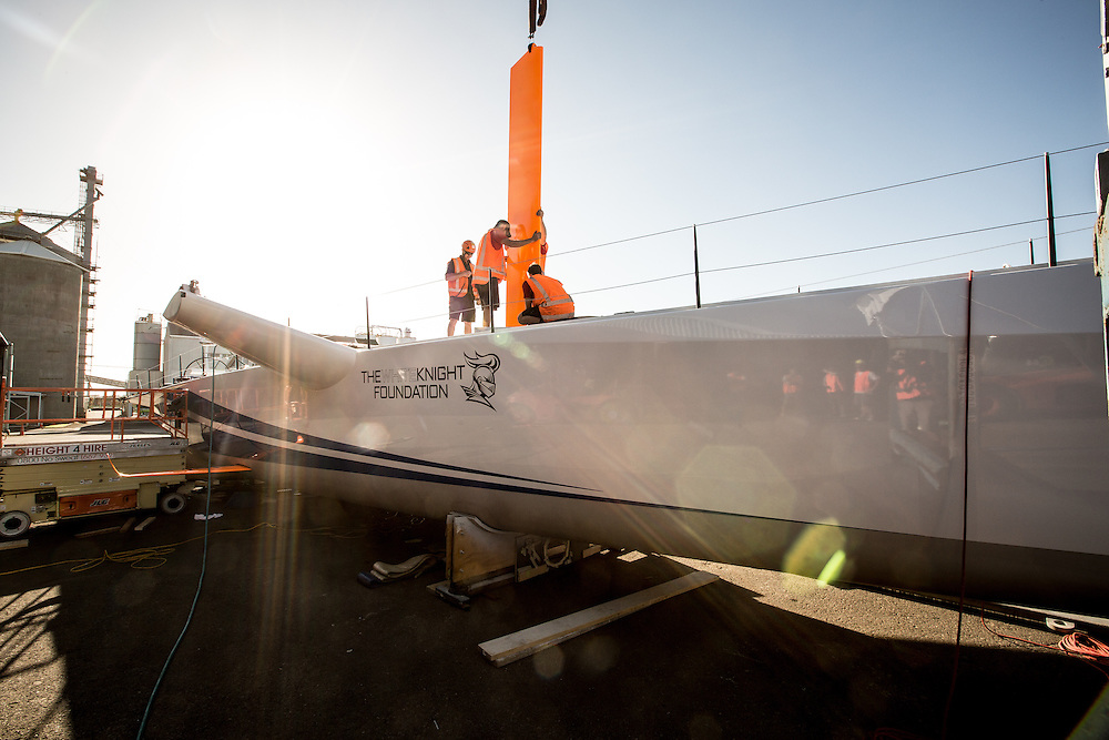 100-ft race yacht at Southern Ocean Marine. Tauranga, New Zealand. 8 November 2016.  Photo:Gareth Cooke/Subzero Images