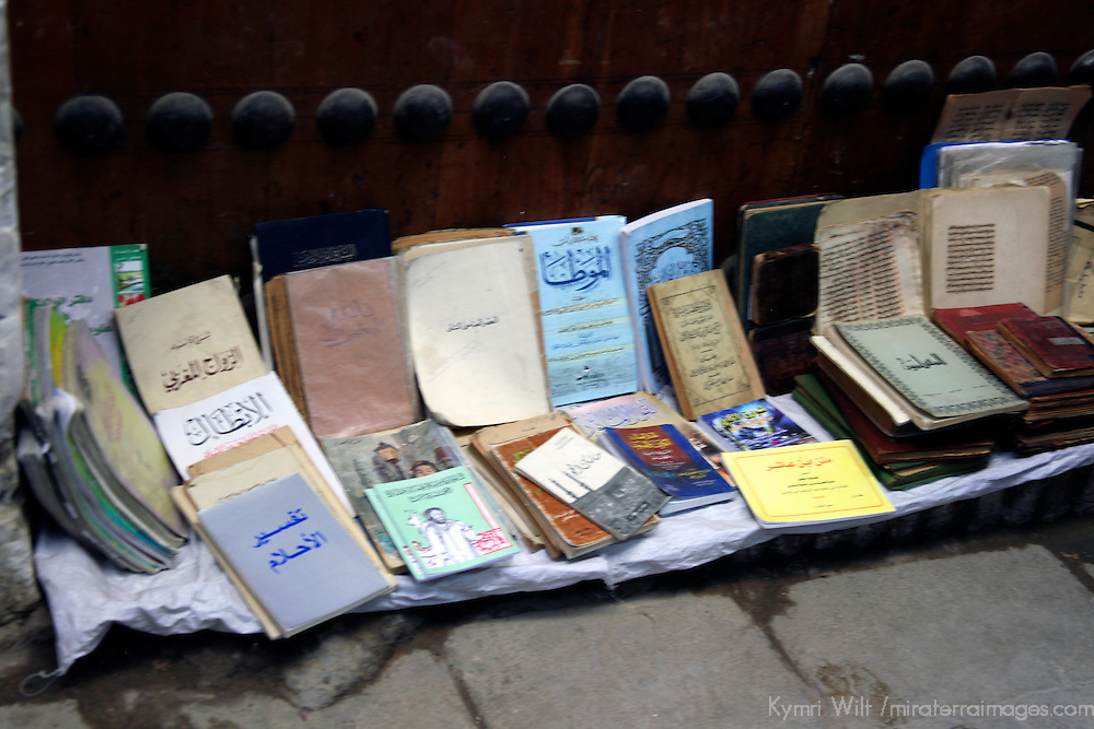 Africa, Morocco, Fes. Books for sale in the souks of Fes.