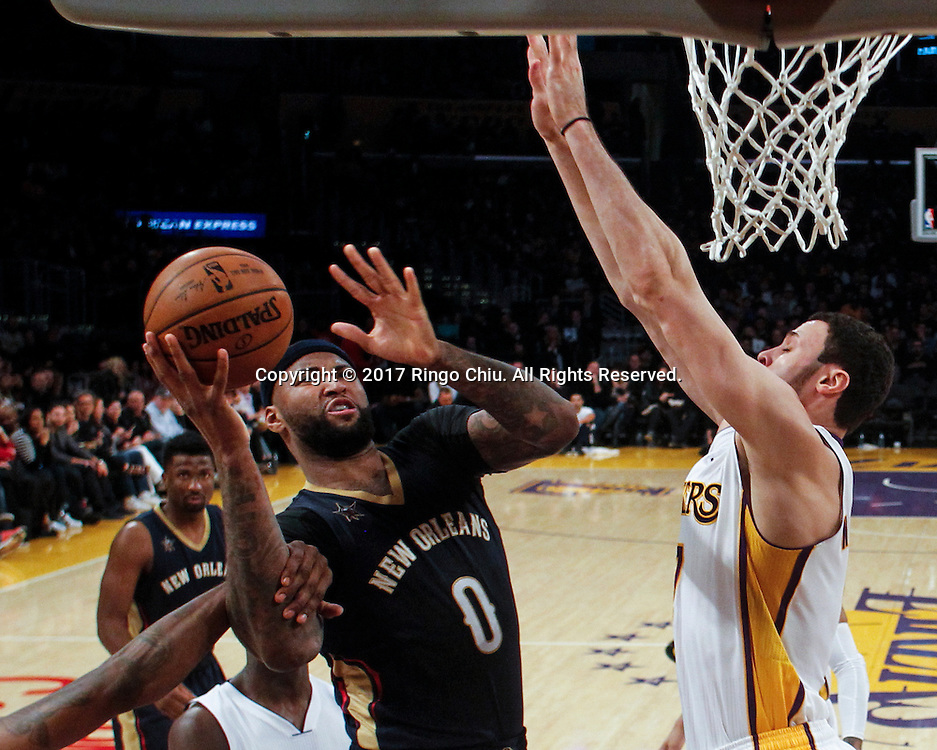 3?5?????????????????????????????????? ????2016-2017??NBA??????????????xx?xx??/?????????? ???? (????)New Orleans Pelicans defeats Los Angeles Lakers 97-105 during an NBA basketball game Tuesday, March 5, 2017, in Los Angeles. (Photo by Ringo Chiu/PHOTOFORMULA.com)<br /> <br /> Usage Notes: This content is intended for editorial use only. For other uses, additional clearances may be required.