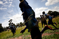 Children play during recess in Nzara. Hundreds of children have been abducted by the LRA in South Sudan and forced to become porters and  child wives.