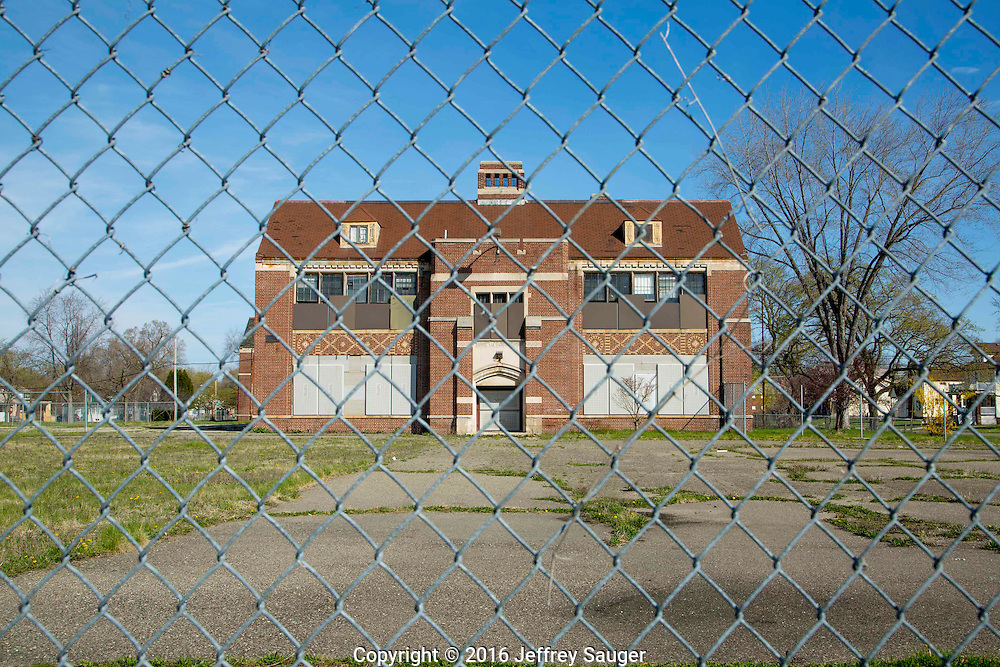 Guyton School in the Jefferson-Chalmers Historic Business District and neighborhood in Detroit, Michigan, Wednesday, April 20, 2016. <br /> <br /> On September 7, 2016, The National Trust for Historic Preservation gave the Jefferson-Chalmers neighborhood in Detroit&rsquo;s lower east side the distinction of a National Treasure. This is the first in the state of Michigan and the first project under the National Trust&rsquo;s ReUrbanism initiative. (Photo by Jeffrey Sauger )