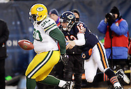 .Green Bay Packers' B.J. Raji intercepted a Chicago Bears' Caleb Hanie pass and returned it for a touchdown in the 4th quarter. This was the winning touchdown. .The Green Bay Packers traveled to Soldier Field in Chicago to play the Chicago Bears in the NFC Championship Sunday January 23, 2011. Steve Apps-State Journal.