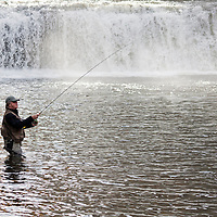 NC00480-00...NORTH CAROLINA - Dick Manrow fishing below Hooker Falls in the DuPont State Forest, Transylvania County.