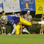 Blue cornerback Andre Patton (8) of Saint Elizabeth High School dives into the end-zone early in the fourth-quarter of the 58th Annual DFRC Blue-Gold All?Star Football game Saturday, June. 22, 2013, at Delaware Stadium in Newark DE.