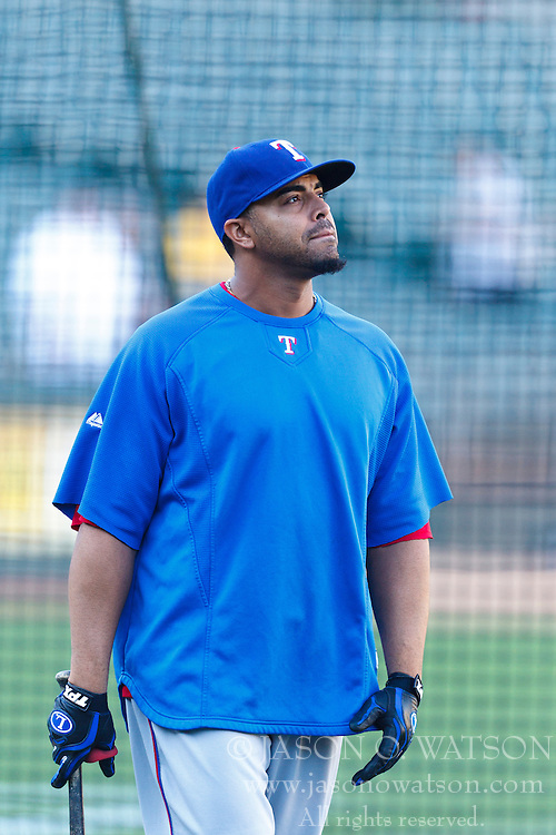 September 20, 2011; Oakland, CA, USA;  Texas Rangers right fielder Nelson Cruz (17) during batting practice before the game against the Oakland Athletics at O.co Coliseum.  Texas defeated Oakland 7-2.