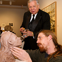 "Don Prystloski of Beavercreek watches WSU senior Bret Eikenbery work on a piece that he started shortly before the ArtsGala and will finish during the 12th Annual ArtsGala at Wright State University's Creative Arts Center, Saturday, April 2, 2011.  Prystloski says of the ArtsGala, ""These kids are great,"" adding ""there's so much talent here."""