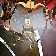 """WASHINGTON, DC - March 14th, 2013 -  Pink performs at the Verizon Center in Washington, D.C. as part of her """"Truth About Love"""" tour. She began the show with an acrobatic display during """"Raise My Glass,"""" using bungee cords to twist and flip high above the capacity crowd.  (Photo by Kyle Gustafson/For The Washington Post)"""
