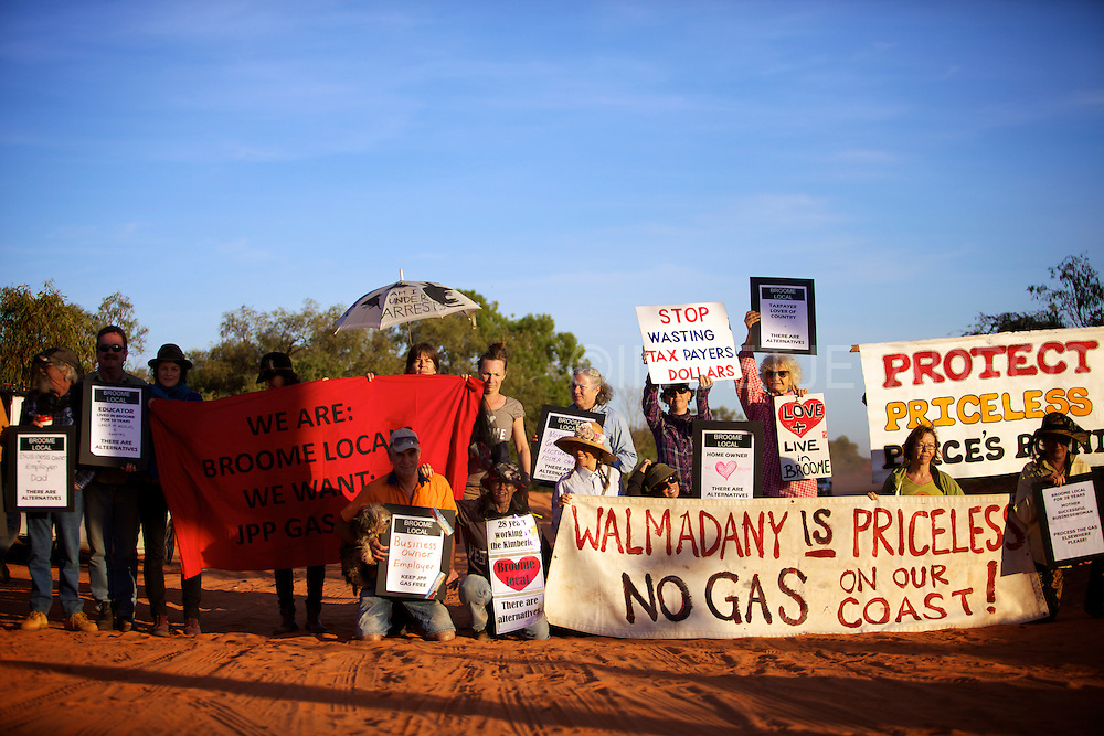 Broome locals protesting against Woodside Petroleum's proposed $30 billion gas hub at James Price Point in Broome, Western Australia. 15 May 2012